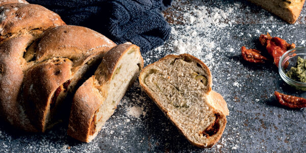 Sun-dried Tomato, Olive and Pesto Wholemeal Plait