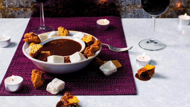Chocolate Caramel Fondue with Honeycomb and Marshmallows