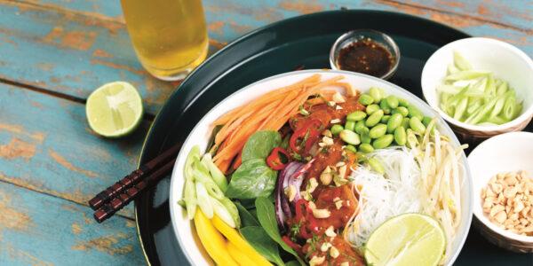 Peanut Tempeh and Mango Rice Noodle Salad