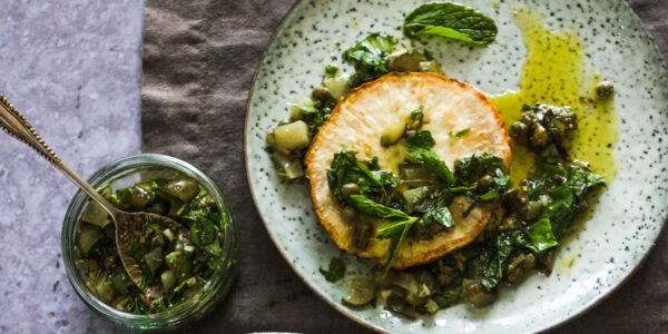 Roast celeriac steaks with salsa verde