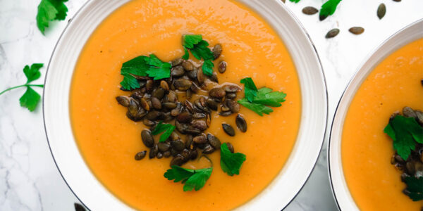Butternut squash and apple soup with spiced pumpkin seeds