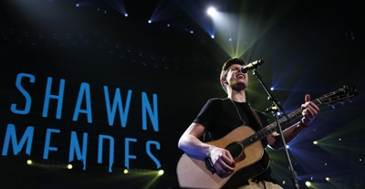 BOSTON-DEC 14: Singer Shawn Mendes performs in concert at KISS 108's Jingle Ball 2014 at TD Garden on December 14, 2014 in Boston.