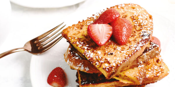 French Toast with Poached Strawberries