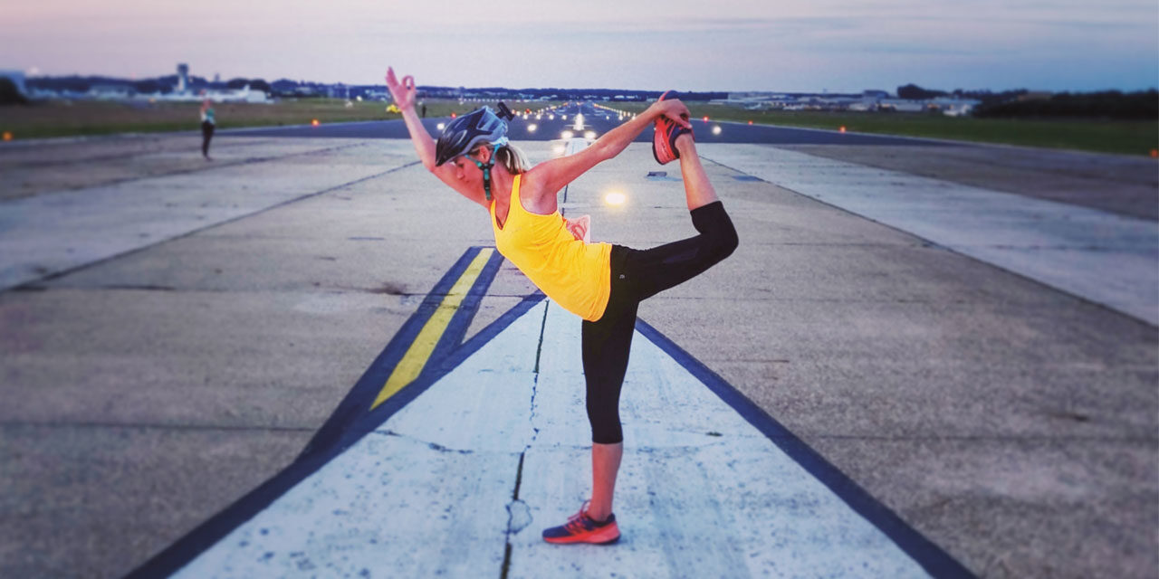 Yoga on an airport runway